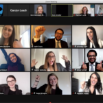 Screen capture of a virtual meeting where 9 participants are cheering their success - Walsh Family Law competition