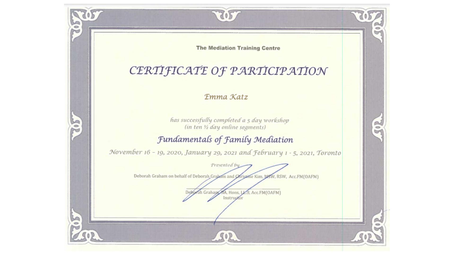 Family Mediation Certification for Emma Katz