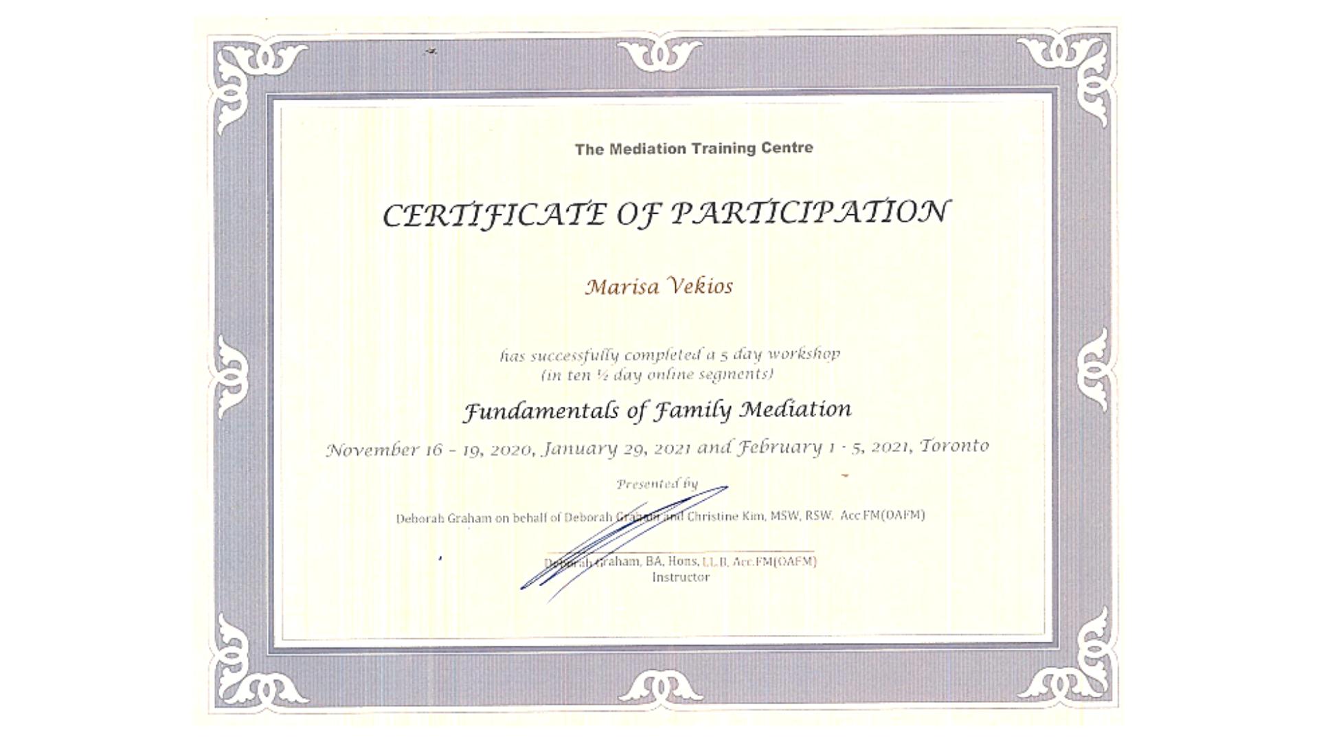 Family Mediation Certification for Marisa Vekios